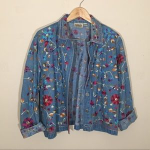 Vintage 90s Denim Jean Embroidered Boho Jacket